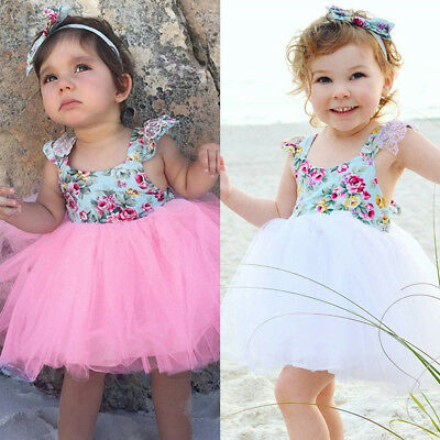 Baby Girls Floral Tulle Tutu Dress Toddler Summer Ruffle Princess Party Dresses