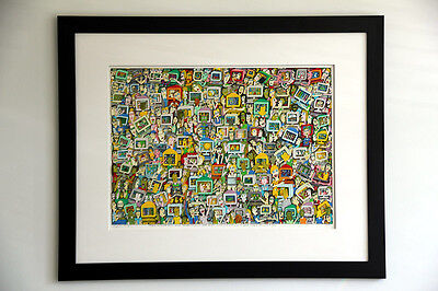 "James Rizzi ""Touch someone..."", riesiges original 3D-Bild, superedel gerahmt"