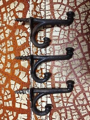 3 Antique Vintage Cast Iron Coat Hooks Screw In Black Painted Old Victorian Iron