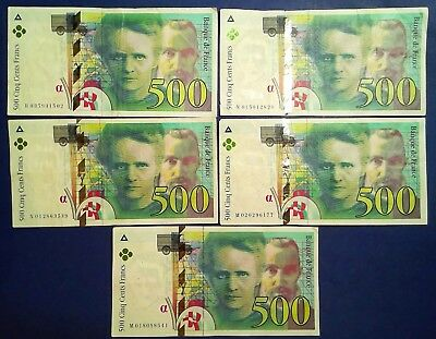 FRANCE: 5 x 500 Francs Banknotes Very Fine Condition
