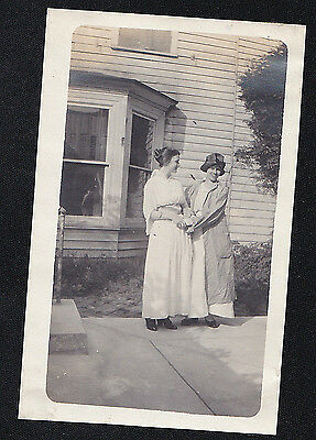 Vintage Antique Photograph Two Women Standing in Front of House in Cool Outfits