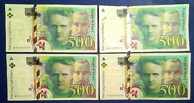 FRANCE: 4 x 500 Francs Banknotes Very Fine Condition