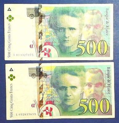 FRANCE: 2 x 500 Francs Banknotes Very Fine Condition