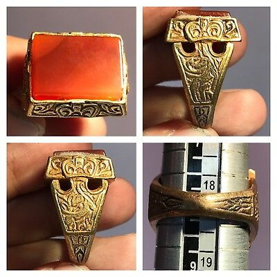 Old Wonderful Agate Medieval intaglio Stone Rare Ring