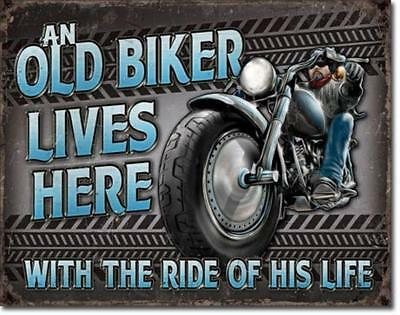An Old Biker Lives Here With The Ride Of His Life Motorcycle Tin Metal Sign USA