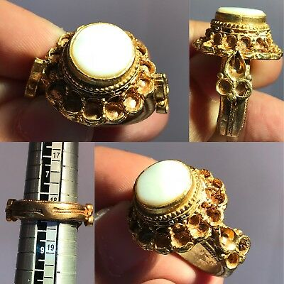Very Old White Stone Gold Gilding Wonderful  Ring