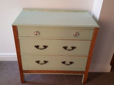 Beautiful chest of drawers - pale green - solid wood- shabby chic