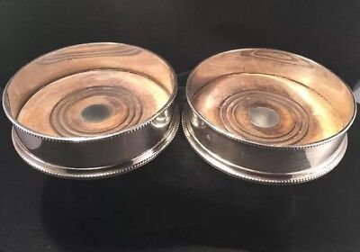 Pair Of Fine Heavy Gauge Sterling Silver English Wine Coasters 5 inch Diameter