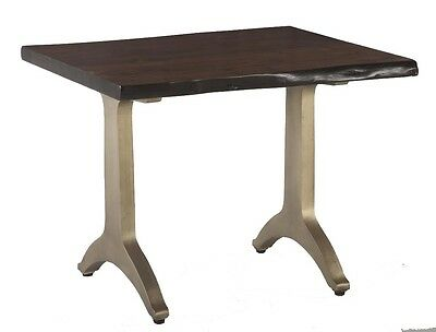 Pair of (2) Live Edge Solid Wood Top & Brass Base End Tables In Black Walnut