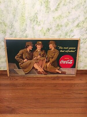 Coca Cola Coke Cardboard Poster Litho Display Sign 1940s 36x20 *GREAT SHAPE*