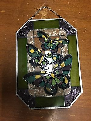 Tiffany Style Stained Glass Hanging Window Panel Butterfly Flowers