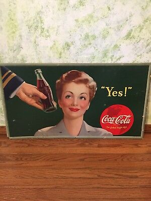 1943 Coca Cola Cardboard 36x20 Advertising Sign *great Shape*