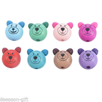10PCs Mixed 3D Bear Head Making Pacifier Soother Jewelry Wood Beads 2.8x2.5cm