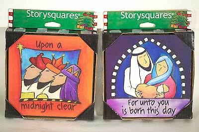 Demdaco Storysquares Birth of Christ set of Two Decorations