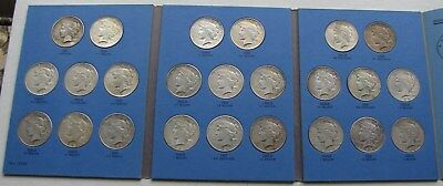 Peace Silver Dollars Complete Set 24 Coins Dated 1921 - 1935 in a Whitman Folder