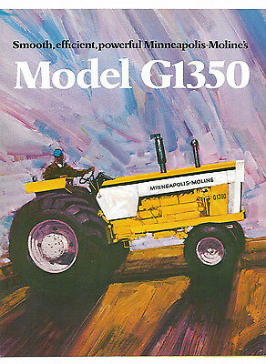 1972 Minneapolis Moline Model G1350 Tractor Brochure LP Gas Diesel