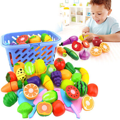 Kids Kitchen Fruit Vegetable Food Pretend Role Play Cutting Set Toys