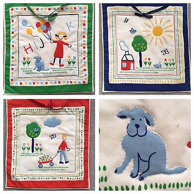 Vintage Quilted Wall Hanging Lot 3 Primary Colors Children's Room School Room