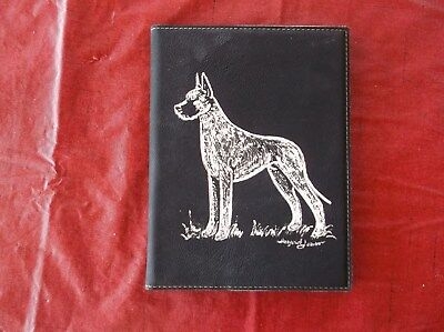 Great Dane- Hand engraved Leatherette Note Book Folder  by Ingrid Jonsson.