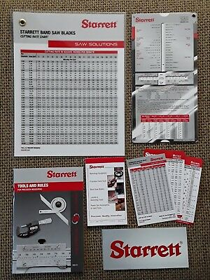 Starrett Saw Solutions Chart, Tools & Rules, Machinist Pocket Cards, Notepad ...