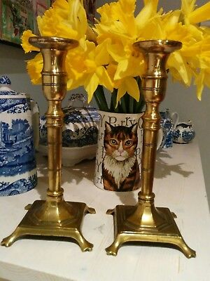 Antique handsome possibly Russian pair of footed brass candlesticks