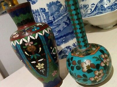 A Pair of small antique Japanese cloisonne vases