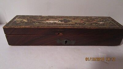 Antique students pencil box late 19th early 20the century with lock no key