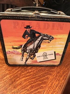 "Vintage 1960 "" PALADIN - HAVE GUN WILL TRAVEL "" Metal Lunchbox - VIEW PICTURES"
