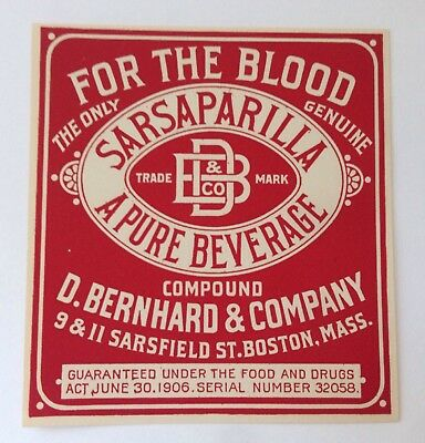 Lot of 3 Antique QUACK MEDICINE Bottle Labels SARSAPARILLA For the Blood BOSTON