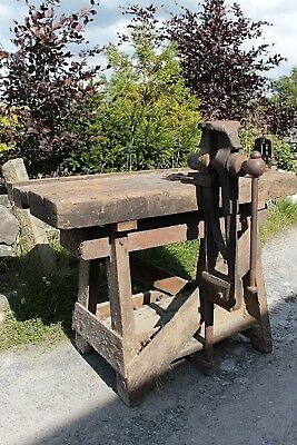 Old Work Bench Vintage Antique With Leg Vice and Pipe Clamp Industrial