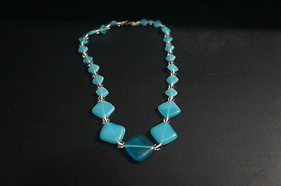 Rare Antique Satin Glass Square Bead Necklace Choker Old String Opalene