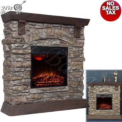 """ELECTRIC FIREPLACE HEATER TV Stand 38"""" Mantle Faux Stone LED Light Fire Adjustme"""