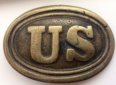 "Vintage Brass Civil War Repro US Oval Belt Buckle ""Korea"" 3.25 Ounces"