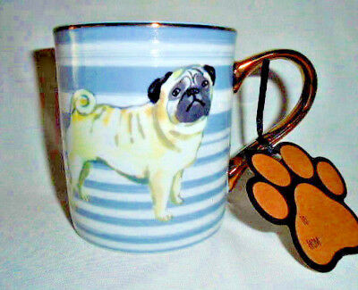 New Pug Dog Puppy Gray Stripe Gold 10 Strawberry St Mug Cup Coffee Tea 14 oz