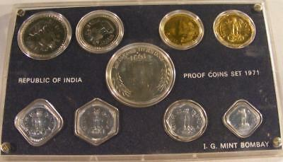 1971 Republic Of India 9pc Proof Set Bombay Mint W/ Box & COA