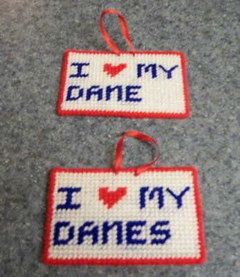 Brand New Needlepoint Sign I Love My DANE GREAT DANES For Dog Rescue Charity
