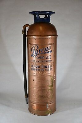 "Antique Vintage ""PYRENE SODA-ACID"" Copper Brass Fire Extinguisher-EMPTY"