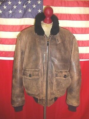 e4639e87e13 Vintage AVIREX U.S.NAVY Type G-1 Flight Bomber Motorcycle Leather Jacket  .Size M