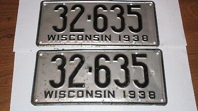 1938 Pair Wi License Plates Antique Vintage Rare