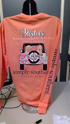 Simply Southern Long Sleeve T-Shirt: Let's Be Besties - Sunglow