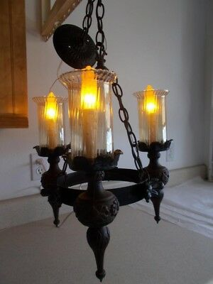 Vintage gothic spanish medieval wrought iron 3 light chandelier