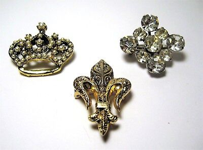 Vintage Scatter Pins Brooches Crown Fleur De Lis Clear Rhinestone Lot of 3