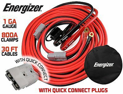 1 Gauge 30 Ft Quick Disconnect Jumper-Booster Cable Set, Tow-Service Tow Truck
