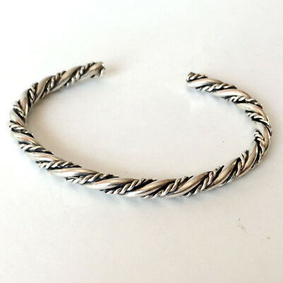 Sterling silver antique finish twisted wire bangle bracelet Lot 7G