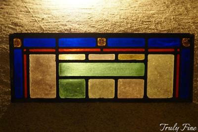 Antique Victorian Stained Glass Architectural Window Transom
