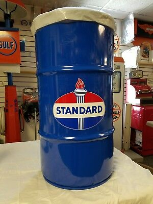 Standard Oil Gas 40S 50S 60S Vintage Style 16 Gallon Cold Rolled Steel Trash Can