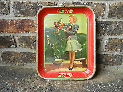 Vintage 1942 Coca~Cola Tray Two Girls & Roadster Convertible Original