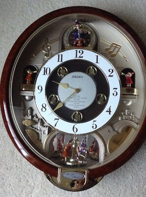 Seiko Melodies In Motion Musical Wall Clock Plays 7 Beatles Songs