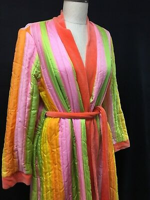 Vintage 60's Neon Striped Quilted Long Robe by Fifth Ave. Robes Vibrant