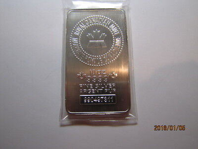 10 oz. Royal Canadian Mint RCM .9999 Silver bar Serial #990497311